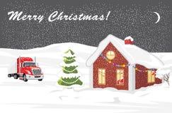 Christmas landscape. Postcard. Christmas landscape. Greeting card. Illustration Stock Photos
