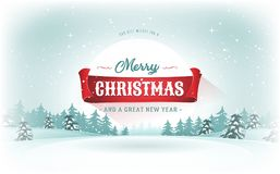 Christmas Landscape Postcard. Illustration of a design christmas winter snowy landscape background, with firs, snow and red banner for winter and new year Stock Photos