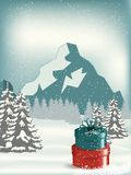 Christmas Landscape Postcard/ Illustration of a round with snowy christmas landscape background, firs, banner and wishes for winte. R and new year holidays Stock Image