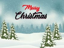 Christmas Landscape Postcard/ Illustration of a round with snowy christmas landscape background, firs, banner and wishes for winte. R and new year holidays Royalty Free Stock Photography