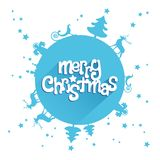 Blue Merry Christmas design greetings card. Christmas landscape raised on the earth, around a Merry Christmas lettering wish: world wide celebration, global Royalty Free Stock Photos