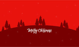 Christmas landscape on red backgrounds silhouettes. Vector Royalty Free Stock Images