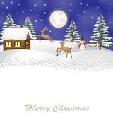 Christmas landscape with reindeer vector illustration