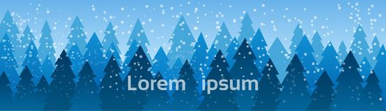 Christmas Landscape Snow Falling On Pine Trees Winter Horizontal Banner With Copy Space. Flat Vector Illustration royalty free illustration
