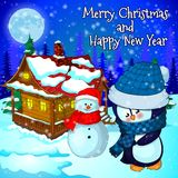Christmas landscape with snow, forest, house snowman and penguin. Vector illustration Royalty Free Stock Photography