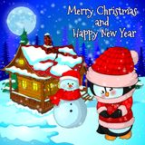 Christmas landscape with snow, forest, house snowman and penguin. Vector illustration Royalty Free Stock Photos
