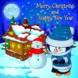 Christmas landscape with snow, forest, house snowman and penguin. Vector illustration Royalty Free Stock Photo