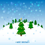 Christmas landscape. With snowflakes and trees and balls Royalty Free Stock Image