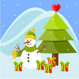 Christmas landscape with Snowman Royalty Free Stock Photo