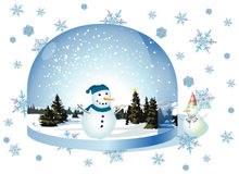 Christmas landscape, snowmen Stock Photos