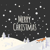 Christmas landscape with trees and forest animals Royalty Free Stock Image