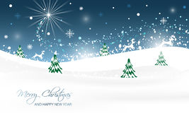 Christmas landscape with trees, glitter, snow and running reindeer. Royalty Free Stock Image
