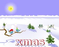 Christmas landscape with two birds. Royalty Free Stock Image