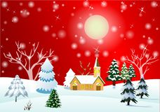 Christmas landscape or winter landscape. royalty free illustration