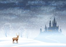 Christmas Landscape Winter Castle Royalty Free Stock Image
