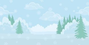 Christmas landscape, winter forest Stock Images