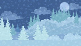 Christmas Landscape, Winter Forest, Seamless Loop. Fullhd 1920x1080 Progressive Seamlessly Looping Video of Fast Passing by Christmas Night Winter Forest with stock video