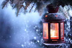 Christmas Lantern. With snowfall,Closeup Stock Photography