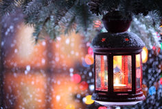Christmas Lantern. With snowfall,Closeup Stock Photo