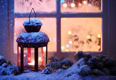 Christmas Lantern. With snowfall,Closeup Royalty Free Stock Photo