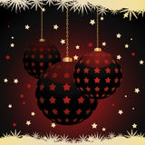 Christmas lantern baubles with snowflake border Royalty Free Stock Image