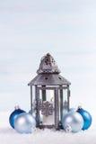 Christmas lantern with blue Christmas balls. Stock Image