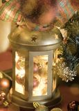 Christmas lantern with bright lights Stock Images