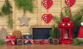 Christmas lantern and candles Stock Photography