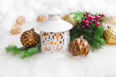 Christmas lantern with decorations Stock Image