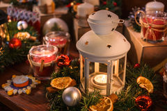 Christmas lantern and decorations Stock Photos