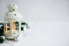 Christmas lantern. Magic lightning background. Stock Image
