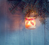 Christmas    lantern at the  evening . Royalty Free Stock Photo