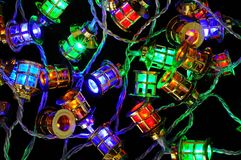 Christmas lantern fairy lights. Stock Photos