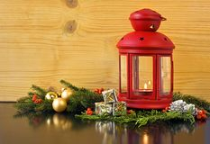 Christmas Lantern with Fir Tree Royalty Free Stock Photography