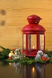 Christmas Lantern with Fir Tree Royalty Free Stock Photo