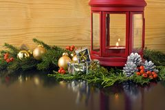 Christmas Lantern with Fir Tree Royalty Free Stock Images