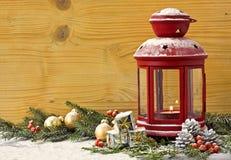 Christmas Lantern with Fir Tree Stock Photo
