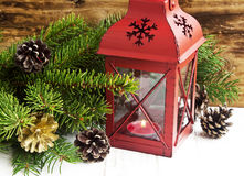 Christmas Lantern with Fir Tree Branches and Decorations Royalty Free Stock Images