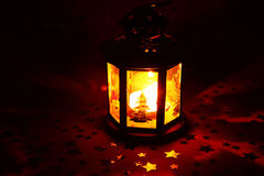 Christmas lantern glowing in dark Royalty Free Stock Photography
