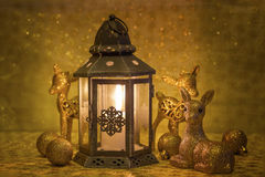 Christmas lantern and golden deer Royalty Free Stock Images