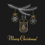Christmas lantern hanging on fir branches. Merry Christmas and Happy New Year greeting card, hand drawn line vector illustration Royalty Free Stock Image
