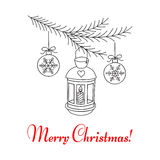 Christmas lantern hanging on fir branches. Merry Christmas and Happy New Year greeting card, hand drawn line vector illustration Stock Images