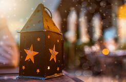 Christmas and Lantern and lamplight. Lantern and lamplight for decoration on Christmas party with snow Stock Image