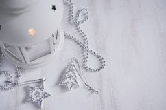 Christmas lantern. Magic lightning background. Royalty Free Stock Photos