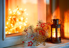 Christmas lantern in night Stock Photo