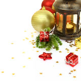 Christmas lantern and ornaments Stock Image