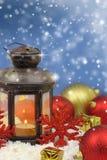 Christmas lantern and ornaments Stock Photos