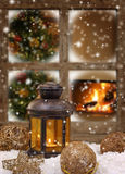 Christmas lantern and ornaments Royalty Free Stock Image