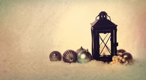 Christmas lantern with ornaments Royalty Free Stock Image