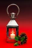 Christmas lantern red background. Stock Photos